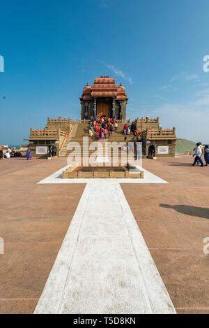Vertical view of the Vivekananda rock memorial in Kanyakumari, India. - Stock Photo