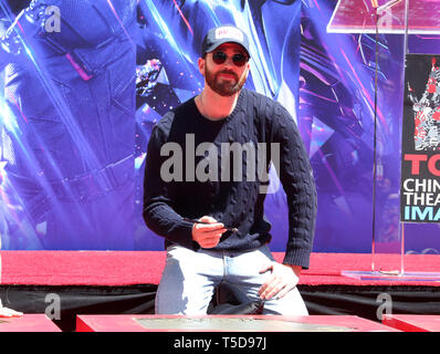 April 23, 2019 - Hollywood, CA, U.S. - 23 April 2019 - Hollywood, California - Chris Evans. Marvel Studios' ''Avengers: Endgame'' Cast Place Their Hand Prints In Cement held at TCL Chinese Theatre. Photo Credit: Faye Sadou/AdMedia (Credit Image: © Faye Sadou/AdMedia via ZUMA Wire) - Stock Photo