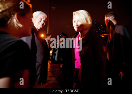 Republican Presidential Candidate Newt Gingrich and his wife Callista at the victory party at the Hilton Hotel in Columbia after a solid victory in South Carolina. Next stop; Florida. - Stock Photo