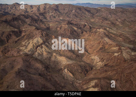 Aerial of desert patterns in the Lake Mead National Recreation Area, Arizona - Stock Photo