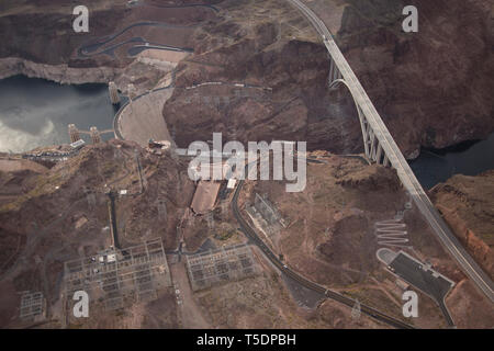 Aerial of the Hoover Dam showing the recently completed Mike O'Callaghan–Pat Tillman Memorial Bridge - Stock Photo