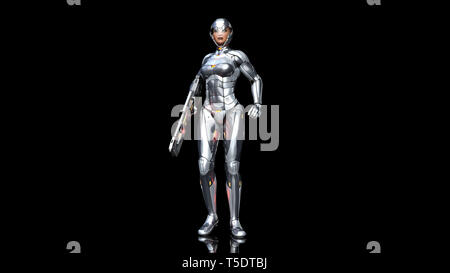 Futuristic android soldier woman in bulletproof armor, military cyborg girl armed with sci-fi rifle gun standing on black background, 3D rendering - Stock Photo