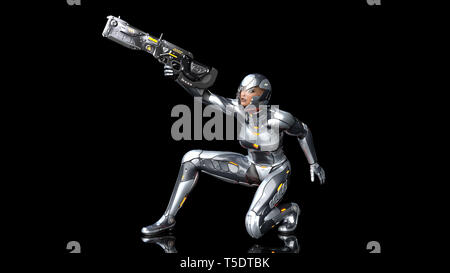 Futuristic android soldier woman in bulletproof armor, military cyborg girl armed with sci-fi rifle gun crouching and shooting on black background, 3D - Stock Photo