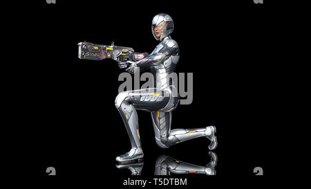 Futuristic android soldier woman in bulletproof armor, military cyborg girl armed with sci-fi rifle gun kneeling and shooting on black background, 3D  - Stock Photo