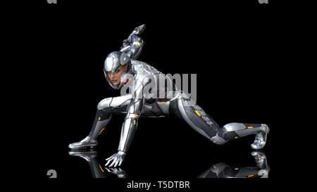 Futuristic android soldier woman in bulletproof armor, military cyborg girl armed with sci-fi rifle gun crouching on black background, 3D rendering - Stock Photo