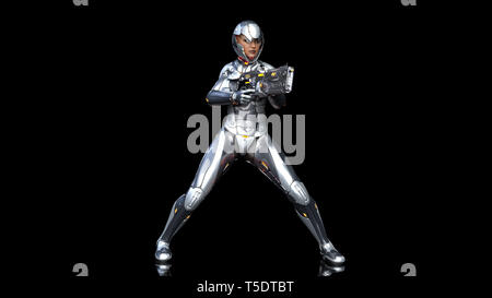 Futuristic android soldier woman in bulletproof armor, military cyborg girl armed with sci-fi rifle gun shooting on black background, 3D rendering - Stock Photo