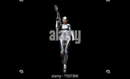 Futuristic android soldier woman in bulletproof armor, military cyborg girl armed with sci-fi rifle gun walking on black background, 3D rendering - Stock Photo