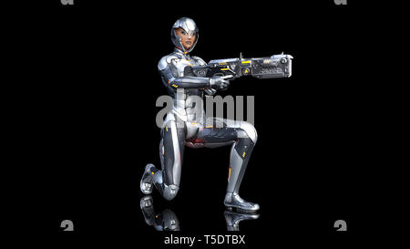 Futuristic android soldier woman in bulletproof armor, military cyborg girl armed with sci-fi rifle gun kneeling on black background, 3D rendering - Stock Photo