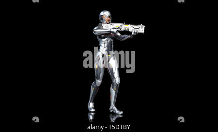 Futuristic android soldier woman in bulletproof armor, military cyborg girl armed with sci-fi rifle gun standing and shooting on black background, 3D  - Stock Photo