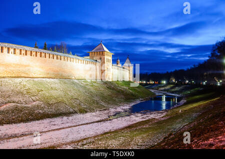 Veliky Novgorod Kremlin towers in Veliky Novgorod, Russia -panoramic winter night scene. Landmarks of Veliky Novgorod, Russia - Stock Photo