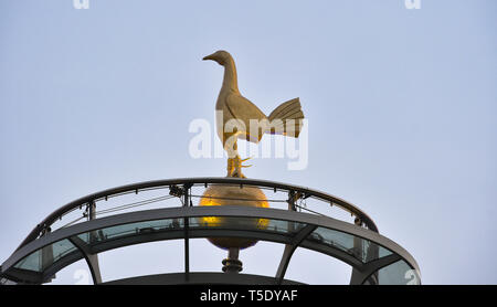 The cockerel on top of Tottenham Hotspur Stadium London. 23 April 2019 - Stock Photo
