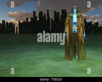 Robot in golden robe before futuristic city - Stock Photo