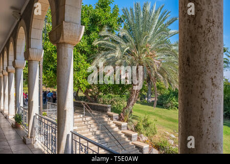 Church on the Mount of Beatitudes, Israel - Stock Photo