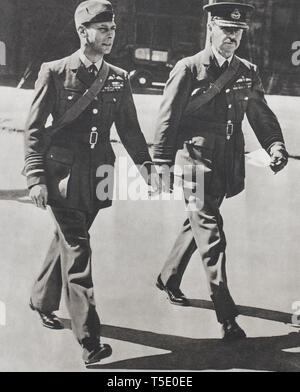 The king of England, in RAF uniform accompanied by Air Chief Marshal Sir Hugh Dowding, commander-in-chief of The Fighter Command, King George VI went  - Stock Photo