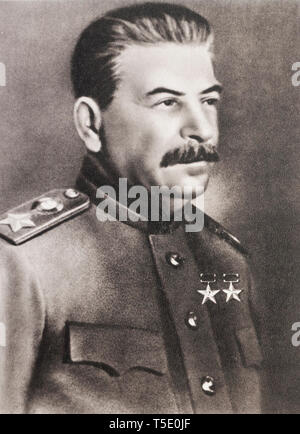 Marshal Joseph Stalin. The Russian land is never conquered... It's too big. Stalin (1878 – 1953)  a Georgian revolutionary and Soviet politician who l - Stock Photo