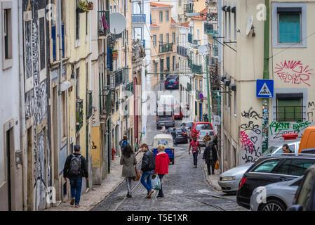 Calcada de Santo Andre Street in Lisbon city, Portugal - Stock Photo
