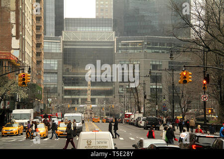 Columbus Circle and Time Warner Center seen from the W 59th Street in Manhattan, NYC, USA - Stock Photo