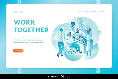 Office workers work together. isometric illustration. vector eps10 - Stock Photo