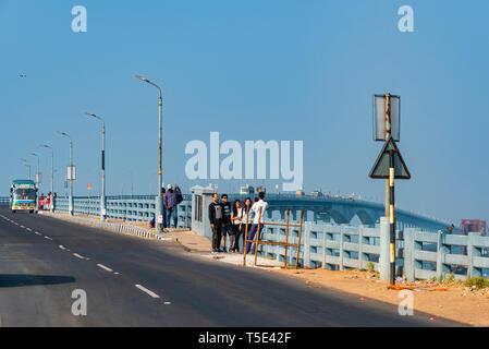 Horizontal view of tourists on Pamban bridge in Rameswaram, India. - Stock Photo