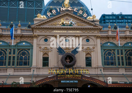 The historic Princess' Theatre in Spring Street, Melbourne, showcasing the Australian premiere of 'Harry Potter and the Cursed Child' - Stock Photo