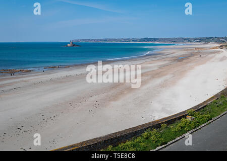 St Ouen's Bay and the Five Mile Road, Jersey, Channel Islands - Stock Photo