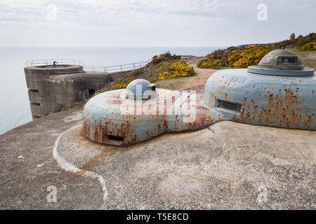 World War Two German coastal defences on the island of Jersey, Channel Islands - Stock Photo