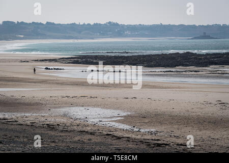 Low-tide at St Ouen's Bay seen from L'Etacq - Stock Photo