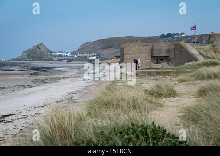 St Ouen's Bay and L'Etacq, Jersey, Channel Islands - April 2019: German bunker part of Hitler's Atlantic Wall - Stock Photo