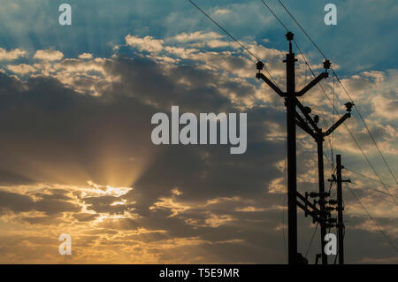 Metal tower transmission and supply of electricity India, Asia - Stock Photo