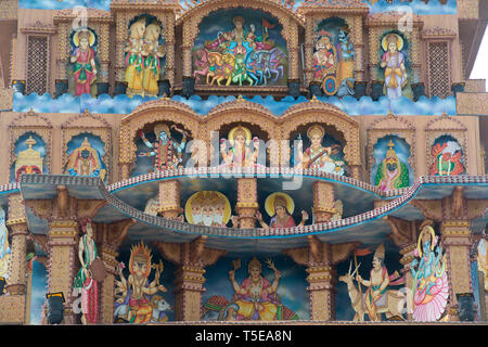 painted Deities on Ganesha imaginary Palace, Pune, Maharashtra, India, Asia - Stock Photo
