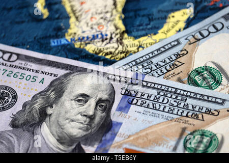 US dollars on the map of Mexico. Mexican economy, american investment and trading concept - Stock Photo