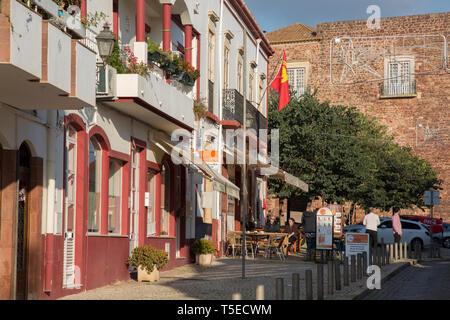 Cafe and Street Scene, Silves; Algarve; Portugal - Stock Photo
