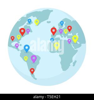 Planet Earth with multicolor pointers illustration. World wide shipping, delivery location, geolocation, navigation isolated clipart. Around world traveling, map with continents flat design element - Stock Photo