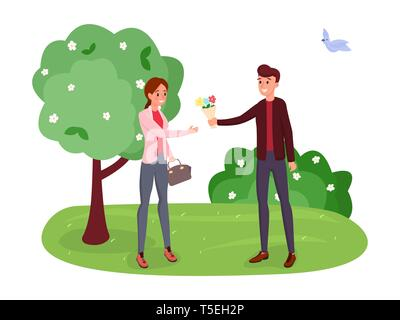 Couple on romantic date vector illustration. Spring landscape, blooming trees, bushes isolated clipart. Boyfriend giving girlfriend bunch of flowers, man and woman characters walking in park - Stock Photo