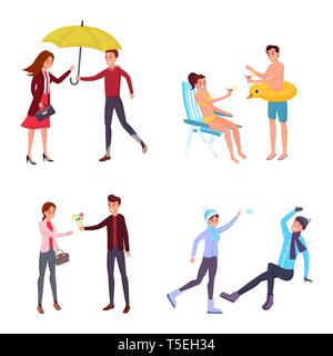 Couple seasonal outdoor activities illustrations set. Winter games, romantic date, summer holiday vacation isolated cliparts pack. Man and woman walking in park, sharing umbrella, sunbathing on beach - Stock Photo