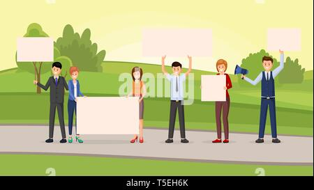 Street promotional campaign flat vector illustration. Students protest, unconventional participation, meeting, public opinion concept. Young people group with empty placards, banners for text - Stock Photo