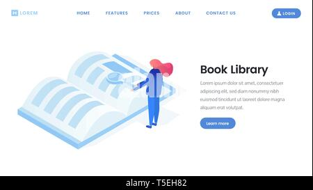 Virtual library landing page isometric template. Ebook reader, online e-library, distance learning website flat layout. Tiny woman reading book with magnifying glass, research 3d vector illustration