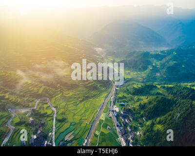 Sunset with Evening light  in Guizhou Province, China. - Stock Photo