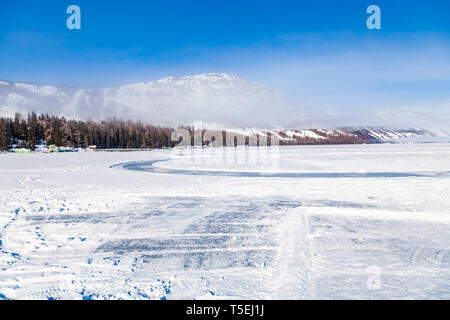view of Kanas Lake Forest in Winter,xinjiang,china - Stock Photo