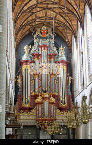 Famous Müller organ from 1738 in St. Bavo church in Haarlem in the Netherlands. Händel and Mozart have played on this organ. - Stock Photo