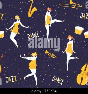 Retro style music vector dance seamless pattern with dancing women - Stock Photo