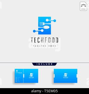 food technology modern simple flat logo template design vector, logo with business card download - Stock Photo