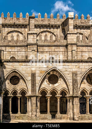 Romanesque cloisters of the Cathedral of Porto, Portugal - Stock Photo