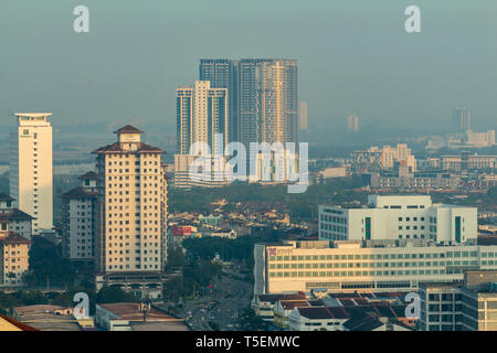 An aerial view of Malacca city at dawn. - Stock Photo