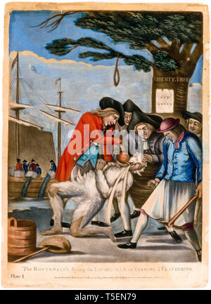 Boston Tea Party, The Bostonians Paying the Excise-man, or Tarring and Feathering, Philip Dawe, 1774, mezzotint - Stock Photo