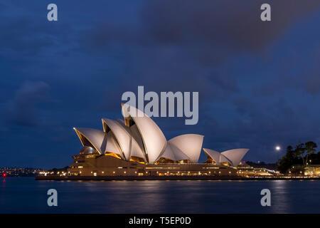 The beautiful Sydney Opera House lit by the blue hour light, Australia - Stock Photo