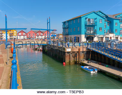 The exe estuary leading into exmouth marina in south devon in england uk - Stock Photo