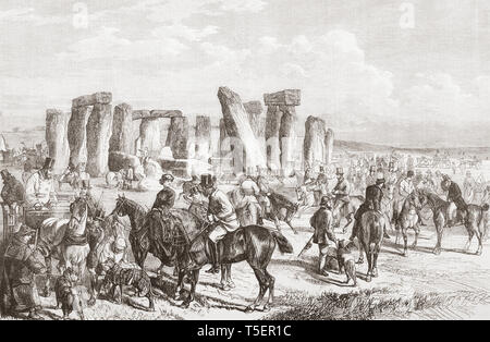 The Wiltshire Champion Coursing Meeting, Stonehenge, Wiltshire, England, seen here in the 19th century.  From The Illustrated London News, published 1865. - Stock Photo
