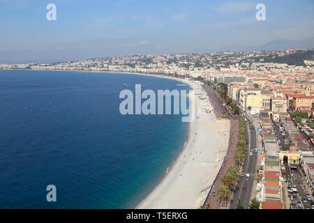Promenade des Anglais,Nice, Cote d'Azur, Alpes Maritimes, Provence, French Riviera, France, Europe - Stock Photo