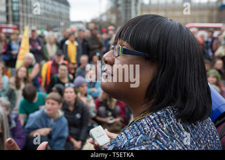 On the 10th consecutive day of protests around London by the climate change campaign Extinction Rebellion, Labour MP Diane Abbot addresses protesters in Parliamant Square, on 24th April 2019, in Westminster, London England. - Stock Photo
